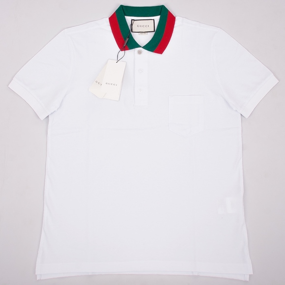 e9e639700a5 Gucci Mens White Green and Red Collar Polo Shirt